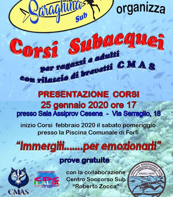 Presentazione dei Corsi Sub 2020 in collaborazione con il Saraghina Sub